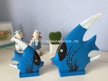 Bộ đôi cá gỗ