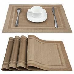 Tấm lót bàn ăn viền đôi màu nâu sáng NX207-1