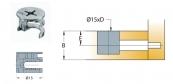 Cam nối Titus 09490 dùng gỗ dày tối thiểu 15/16mm