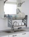 Kệ bát đĩa di động 2 tầng NewEra lắp tủ trên, inox 304, giảm chấn, rộng 900mm