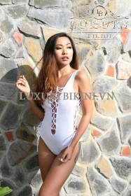 White Lace Up Monokini
