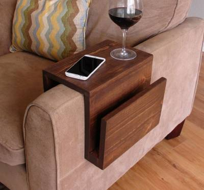 Couch Arm Wrap. Sofa Wrap. Organic Modern Arm Rest in Walnut Wood