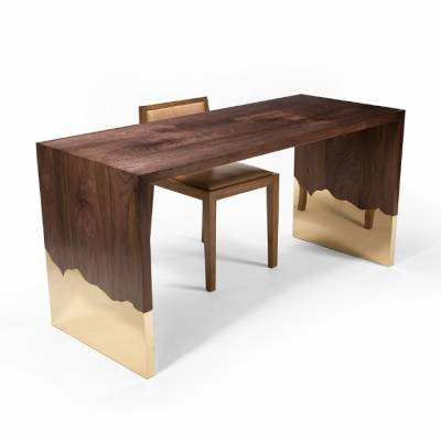 DINING TABLES DIPPED DESK WALNUT