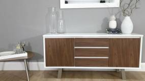 White Gloss Cabinet with Walnut Veneer Doors and Draws