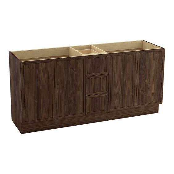 Tủ phòng tắm gỗ Óc Chó (Walnut) 4 cánh 3 ngăn kéo