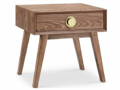 Victory 1 Drawer Side Table WALNUT/GOLD