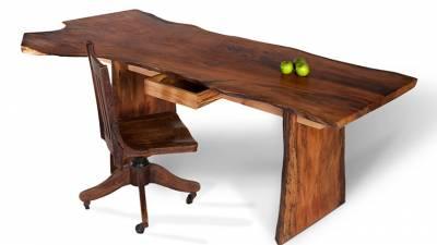 Bàn làm việc gỗ óc chó (walnut) kiểu nguyên thân  BLV W01