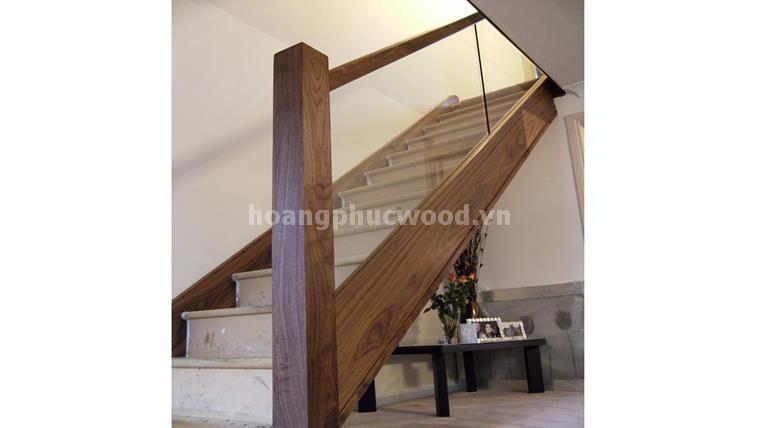 Mẫu cầu thang gỗ óc chó (Walnut) cực thô - Ms: CTG 109