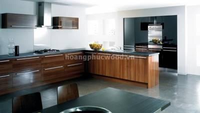 Mẫu kệ bếp, tủ bếp gỗ óc chó (walnut) WKC H01