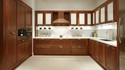 Mẫu kệ bếp, tủ bếp gỗ óc chó (walnut) WKC H014