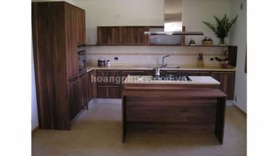Mẫu kệ bếp, tủ bếp gỗ óc chó (walnut) WKC H016
