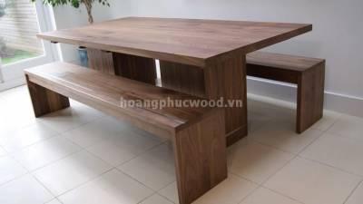 Bàn ăn 8 ghế, 2 băng ghế dài, gỗ óc chó (walnut) – WDT H115 - Tp HCM, quận 6