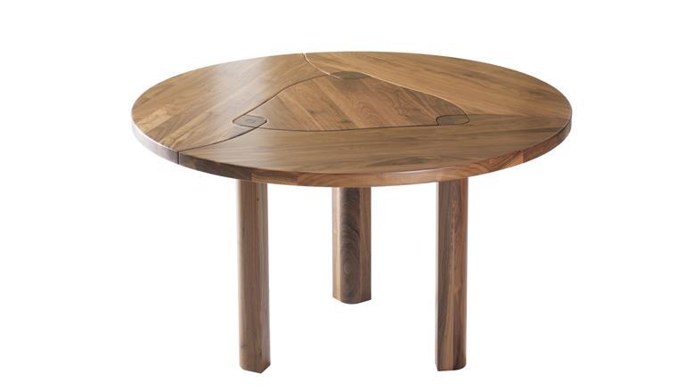 Bàn ăn gỗ óc chó (walnut), bàn tròn D = 1200  – WDT H124 Tp HCM