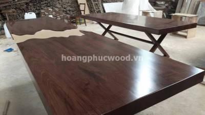Bàn ăn gỗ Óc chó (walnut) nghệ thuật, 28 ghế, dài 4m đứt ở giữa Tp HCM