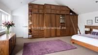 Tủ áo gỗ óc chó (walnut) sang trọng kết hợp tủ kho tiện lợi   WB 120