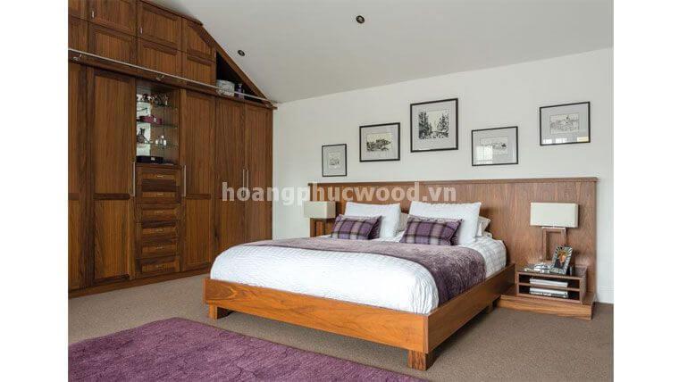 Giường ngủ King size gỗ Sồi + Tabs + Vách đầu giường màu walnut