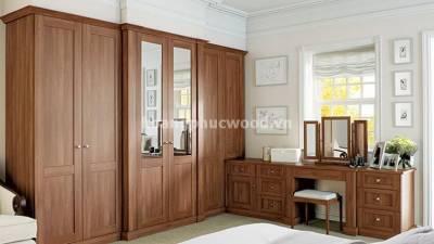 Set phòng ngủ gỗ óc chó (walnut): Tủ đồ + Bàn trang điểm + Đôn ngồi | SBR 01