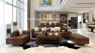 Sofa gỗ óc chó (walnut) 4 món, bọc da kiểu hiện đại | SFW 024