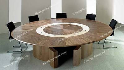Mẫu bàn tròn phòng họp gỗ óc chó (walnut), 10 tới 14 ghế  – MTD W02