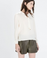 Zara Blouse With Bow On Collar 2753/248 Zara
