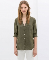 Zara Linen Blouse With Pocket 2765/195 Zara