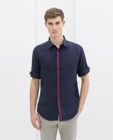 Zara Men Linen Shirt With Ribbon At The Front 5445/406 Zara