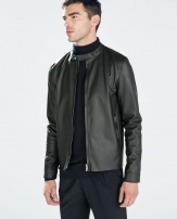 Zara Men Faux Leather Jacket With Piping 9114/300 Zara