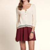 Hollister Girls Bolsa Chica Drapey Knit Henley 82718 Hollister