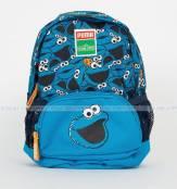 Puma Sesame Street Small Backpack Cookie Monster Blue Puma Ba lô trẻ em Ba lô học sinh Ba lô Puma
