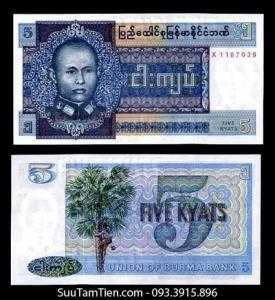 BURMA MYANMAR 5 KYATS 1973