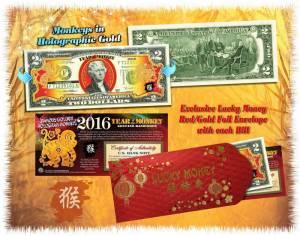 2 USD in màu con khỉ lì xì Tết Bính Thân 2016