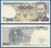 Poland 200 Zlotych P 144 c 1988 UNC
