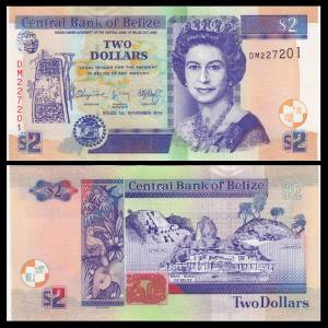 Belize 2 Dollars, 2011, P-66e, UNC