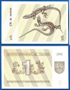 Lithuania 1 Talonas 1991 UNC