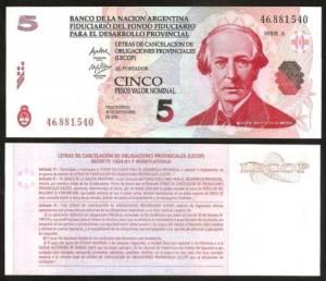 ARGENTINA 5 Pesos 2006 LECOP - UNC