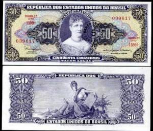 BRAZIL 5 CENT ON 50 CRUZEIROS 1966 UNC