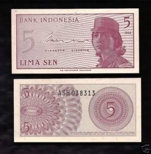 Indonesia 5 Sen 1964 UNC