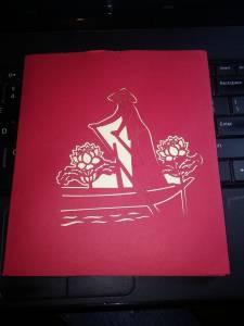 Thiệp 3D giấy chèo thuyền