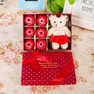 Hộp hoa hồng sáp, 6 bông đỏ + gấu bông