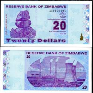 ZIMBABWE 20 DOLLARS 2009 P 95 REVISE TRILLION UNC