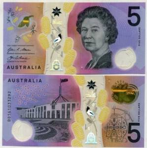 AUSTRALIA 5 DOLLARS 2016 P NEW DESIGN