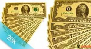 2 USD mạ vàng 2 mặt khác nhau