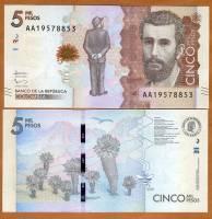 Colombia, 5000 (5,000) Pesos 2015 (2016), P-New, AA-Prefix, UNC