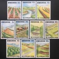 Bộ Rwanda 1983 tem Phong cảnh, chống xói mòn - 10 con