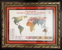Khung tranh Bản đồ thế giới ghép bằng các đồng tiền xưa Việt Nam
