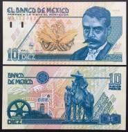 Mexico 10 Pesos UNC 1992