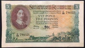 EB South Africa 5 Pounds XF+ 1957