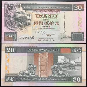 Hong kong 20 Dollars UNC 1998