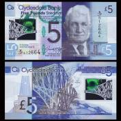 Scotland 5 Pounds 2016 VF Polymer - Clydesdale Bank