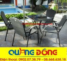 Bộ bàn ghế mây nhựa QD-077s